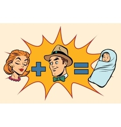 Family man plus woman equals child birth vector