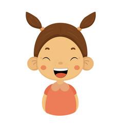 Laughing little girl flat cartoon portrait emoji vector