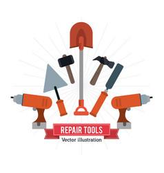 Drill spatula hammer shovel tool icon repair vector