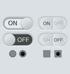 set of off and on buttons user interface vector image