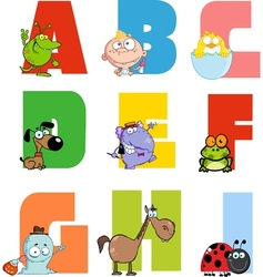 Joyful cartoon alphabet collection 1 vector