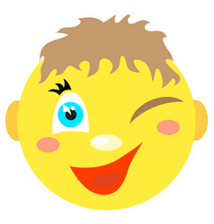 smiley boy winks and smiles vector image