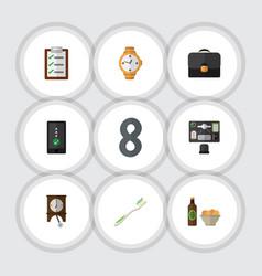 Flat icon lifestyle set of bureau questionnaire vector