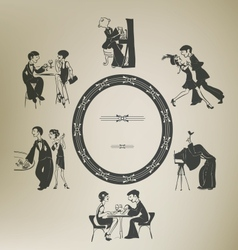 Set of characters in vintage party activities vector