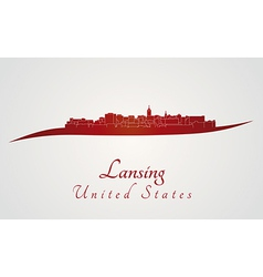 Lansing skyline in red vector