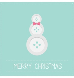Snowman made from buttons and bow dash line vector