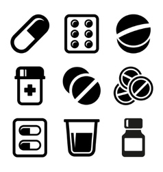 Pills and capsules icons set vector