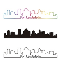 Fort lauderlade skyline linear style with rainbow vector