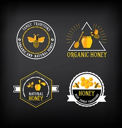 Honey badge and label abstract bee design vector