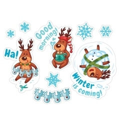 Cartoon deers christmas stickers vector