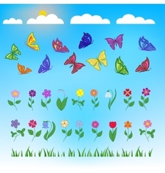 flowers and butterflies flat design vector image