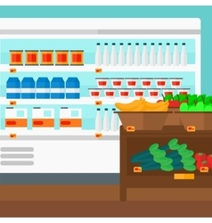 Background of supermarket shelves vector image