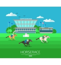 Horserace backgroung with place for text flat vector