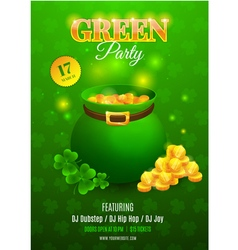 Green party flyer vector