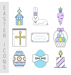 Set of easter color flat icons collection easter vector