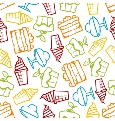 Cakes and ice cream seamless pattern vector