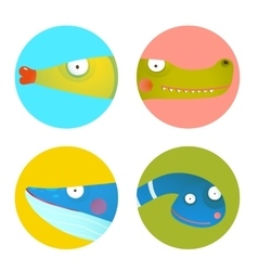 Fun cartoon animals icons collection for kids vector
