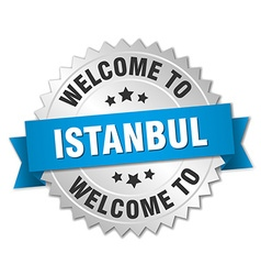 Istanbul 3d silver badge with blue ribbon vector