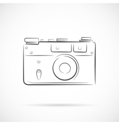 Retro photocamera outline icon vector