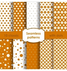 Set of classic orange seamless patterns with dots vector