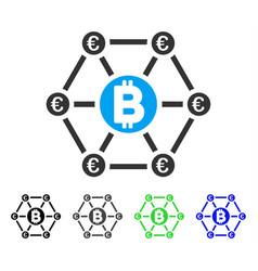 Bitcoin euro financial network flat icon vector