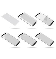 Black smartphones screen protector set different vector image vector image
