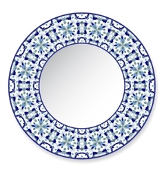 Blue decorative plate with pattern vector image vector image
