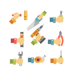 Building and fixing tools in cartoon humans hand vector
