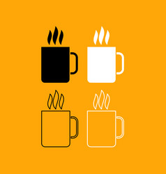 cup with hot drink set black and white icon vector image vector image