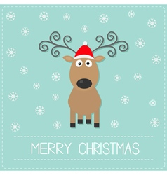 Cute cartoon deer with curly horns red hat vector image vector image