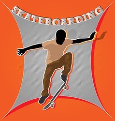 Designed colored artistic skateboarding poster vector image vector image