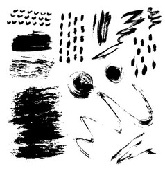 different grunge brush strokes ink art texture vector image
