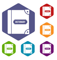 english dictionary icons set vector image