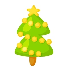 fir-tree isolated on white Cartoon vector image