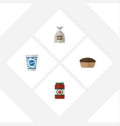 flat icon meal set of ketchup yogurt sack and vector image vector image