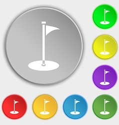 Golf icon sign symbol on eight flat buttons vector