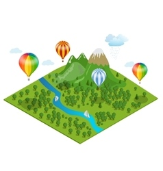 Hot air balloon over the forest over the vector image