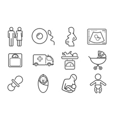 Medicine and pregnancy line icons set vector image vector image