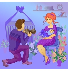 Mom Holding the Baby Father Take a Picture vector image