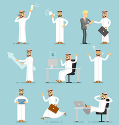 Muslim businessman character isolated set vector