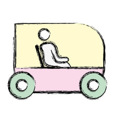 Person seated in the futuristic car innovation vector