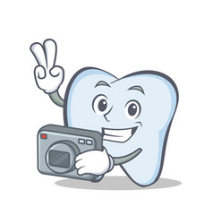 photography tooth character cartoon style vector image vector image