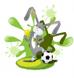 rabbit soccer player vector image vector image