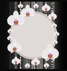 Round frame with orchids vector