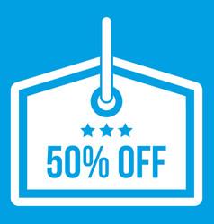 Sale tag 50 percent off icon white vector