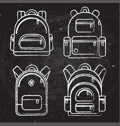 school backpacks set of white chalk sketched vector image vector image