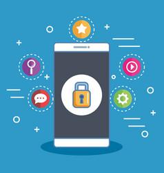 Secure shopping smartphone digital online vector