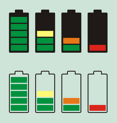 simple battery icon with colorful charge level vector image