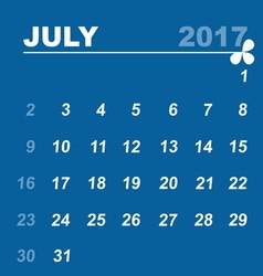 Simple calendar template of july 2017 vector