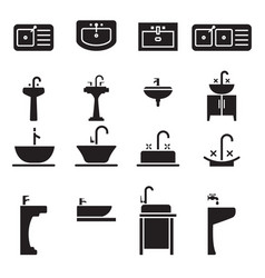 sink icon set vector image